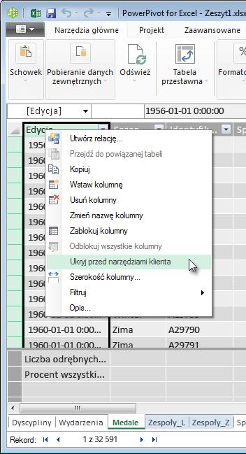 Kliknięcie prawym przyciskiem myszy w celu ukrycia pól tabeli przed narzędziami klienta programu Excel