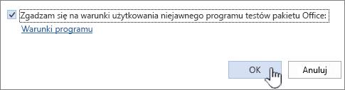 Umowa licencyjna na niejawny program testów pakietu Office