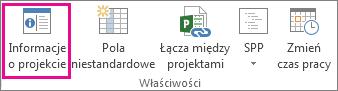 Informacje o projekcie na karcie Projekt