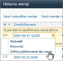 Lista rozwijana przechowywanie wersji z wyróżnionym poleceniem Cofnij publikowanie