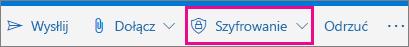 Wstążka Outlook.com z wyróżnionym przyciskiem Szyfruj