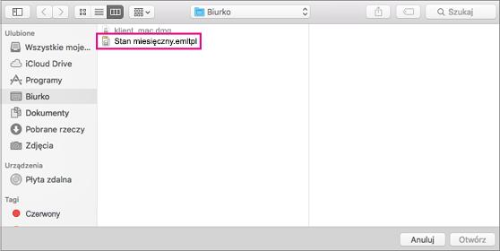 Wybieranie szablonu wiadomości e-mail do użycia