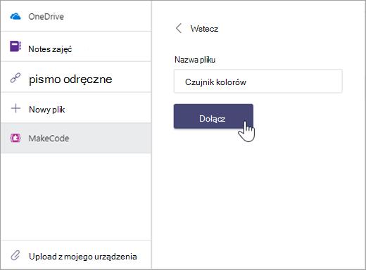 Okno dialogowe nadawania nazwy plikowi MakeCode i dołączanie do zadania aplikacji Microsoft Teams