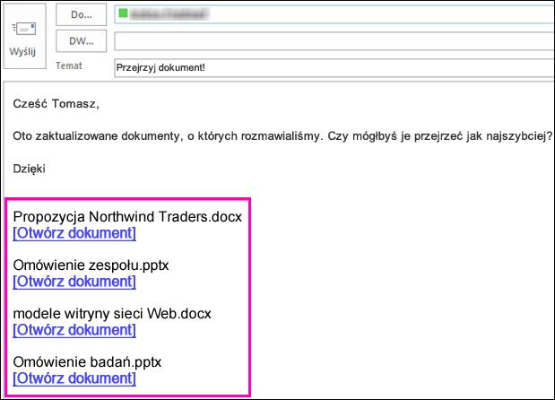 Umieszczanie łączy do dokumentów w wiadomości e-mail