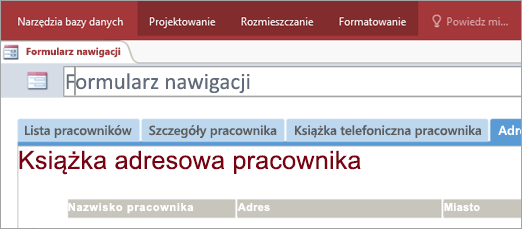 Wycinek ekranu przedstawiający formularz nawigacji