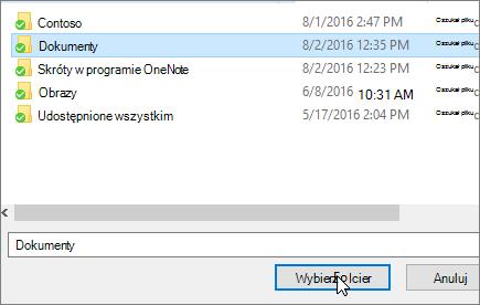 Zrzut ekranu przedstawiający okno dialogowe docelowy wybierz w menu właściwości dokumentów.