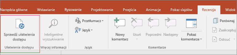 Wycinek ekranu przedstawiający interfejs użytkownika programu Word z wybraną pozycją Recenzja > Sprawdź ułatwienia dostępu otoczoną czerwoną ramką.
