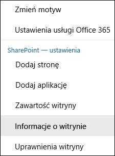 Zrzut ekranu przedstawiający opcję menu Informacje o witrynie programu SharePoint.