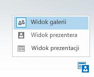 Zrzut ekranu: menu zmieniania układu z trzema opcjami