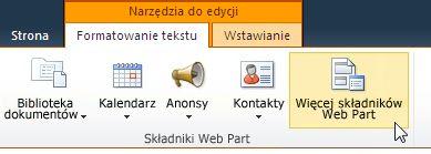 Klikanie pozycji Więcej składników Web Part