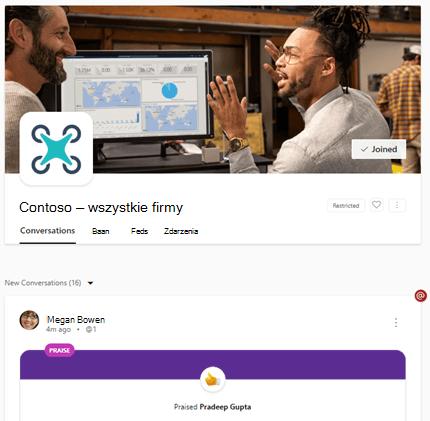 Ograniczone wszystkie wpisy firmowe dotyczące usługi Yammer w sieci Web