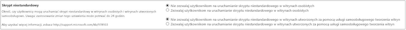 Sekcja skryptu niestandardowego okienka ustawień w Centrum administracyjnym programu SharePoint