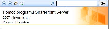 Nagłówek okienka Pomoc programu SharePoint 2007