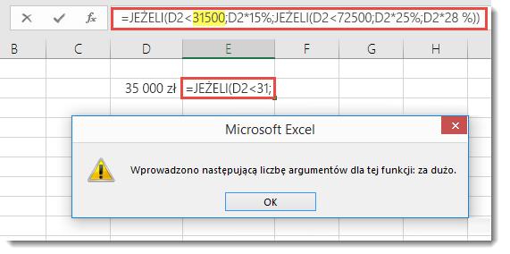 Komunikat programu Excel po dodaniu średnika do wartości