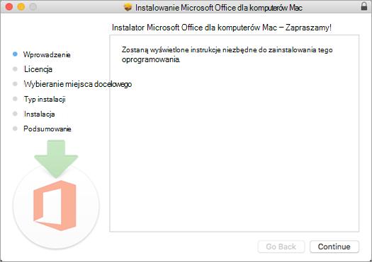 Pierwszy ekran instalacji wersji 2016 dla komputerów Mac z wyróżnioną pozycją Kontynuuj
