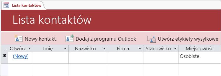 Formularz Lista kontaktów w szablonie bazy danych Kontakty w programie Access