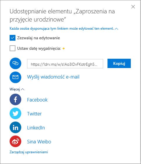 Wszystkie opcje udostępniania w usłudze OneDrive
