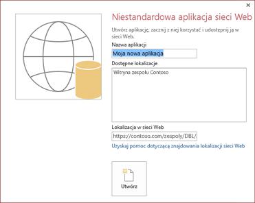 Okno dialogowe nowej niestandardowej aplikacji internetowej z witryną zespołu Contoso w polu Dostępne lokalizacje.