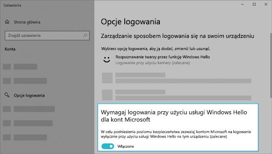 Opcja umożliwiająca używanie funkcji Windows Hello do logowania się do kont Microsoft jest włączona.