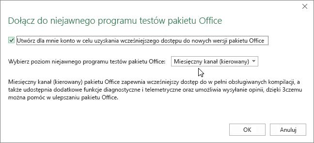 Okno dialogowe Dołącz do niejawnego programu testów pakietu Office z opcją poziomu Miesięczny kanał (kierowany)
