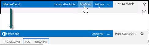 Przekierowywanie z usługi OneDrive w programie SharePoint do usługi OneDrive dla Firm w usłudze Office 365