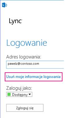 Ekran logowania programu Lync z wyróżnionym przyciskiem usuwania informacji logowania