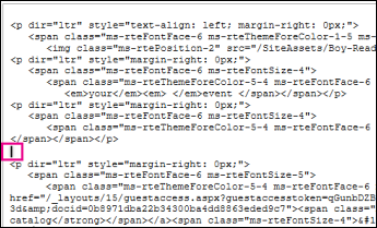 Oznaczanie punktu wstawiania na nowy kod kursora