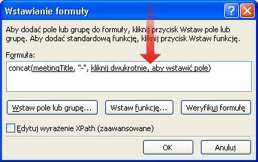 Dwukrotne kliknięcie w celu wstawienia kolejnego pola, które ma zostać użyte jako część nazwy formularza