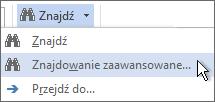 Opcja Znajdowanie zaawansowane w menu Znajdź