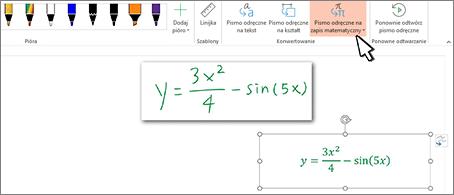 Równanie odręczne i to samo równanie przekonwertowane na sformatowany tekst i liczby