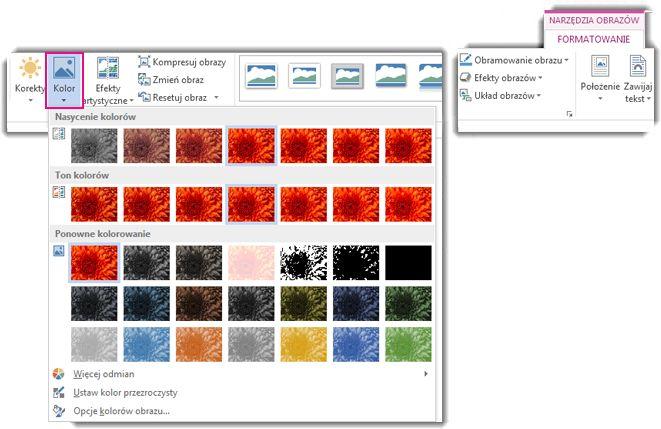 Menu przycisku Kolor otwarte z poziomu karty Formatowanie w obszarze Narzędzia obrazów