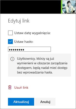 Zrzut ekranu: łącze Edytuj ustawienia