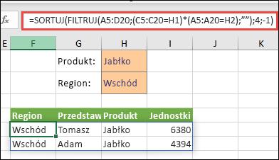 Użycie funkcji FILTRUJ z funkcją SORTUJ w celu zwrócenia wszystkich wartości w zakresie tablicy (A5:D20), które zawierają Jabłka ORAZ leżą w regionie Wschód i dalej sortowania Jednostek w kolejności malejącej.