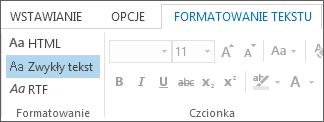 Opcje formatu wiadomości na karcie Formatowanie tekstu