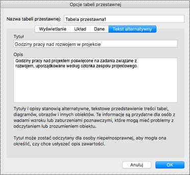 Okno dialogowe Tekst alternatywny dla tabeli przestawnej programu Excel.