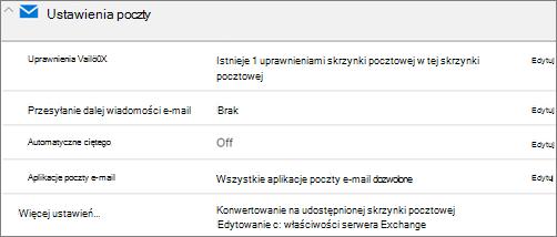 Zrzut ekranu: Konwertowanie skrzynki pocztowej użytkownika do udostępnionej skrzynki pocztowej