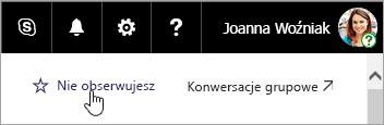 Zrzut ekranu przedstawiający przycisk Obserwuj w witrynie programu SharePoint.