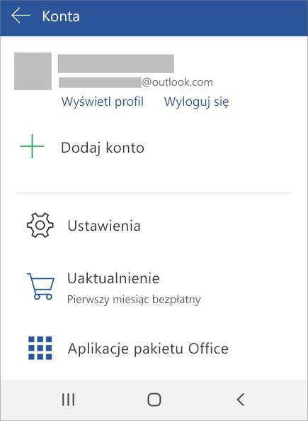 Wyświetla opcję Wyloguj się z usługi Office na urządzeniu z systemem Android