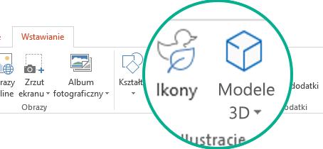 Przyciski poleceń Ikony i Modele 3D na karcie Wstawianie wstążki pasków narzędzi w usłudze Office 365