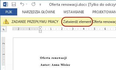 Tekst Przejrzyj dokument wyświetlany obok elementu do przejrzenia