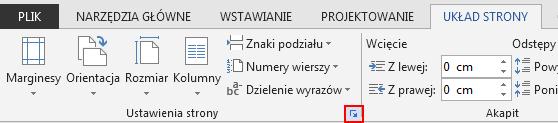 Kliknięcie ikony Ustawienia strony znajdującej się w prawym dolnym rogu na karcie UKŁAD STRONY powoduje otwarcie okna Ustawienia strony.