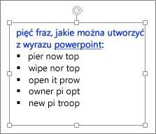 Formatowanie w polu tekstowym programu PowerPoint