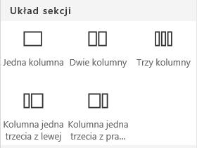 Zrzut ekranu przedstawiający menu układu sekcji w programie SharePoint.