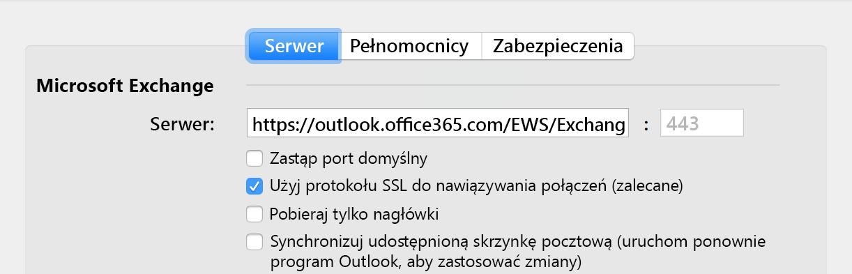 Opcja automatycznej synchronizacji udostępnionej skrzynki pocztowej