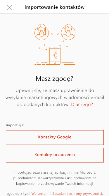 Wybierz kontakty usługi Google