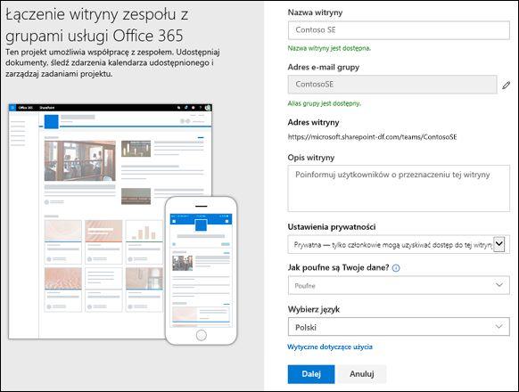 Tworzenie witryny zespołu programu SharePoint