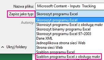 Wybierz szablon z obsługą makr programu Excel.
