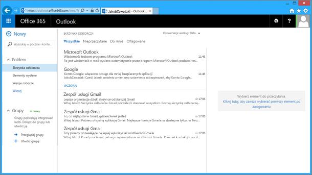 Po zaimportowaniu wiadomości e-mail z pliku pst pojawią się one również w aplikacji OWA