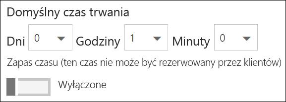 Zrzut ekranu: Ustawianie domyślny czas trwania usługi