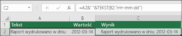 Przykład łączenia tekstów za pomocą funkcji TEKST